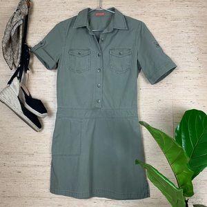 J.Crew Green Khaki Utility Epaulette Mini Dress